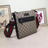 Wholesale vintage briefcases for sale - Group buy Designer LUX Vintage Mens Crossbody Leather Men Briefcase Message Bag Handbag G printing Letter Hardware Shoulder Stripe Red Black Bags