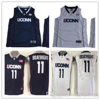 camisetas de baloncesto cosidas a medida al por mayor-Custom Mens Uconn Huskies College Basketball blanco azul marino Personalizado Cosido Cualquier nombre Cualquier número personalizado # 15 # 11 Jerseys S-3XL