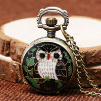 coruja relógio mulher venda por atacado-tamanho relógio Vintage Relógio Coruja Mini Tamanho pequeno mostrador Owl Bronze Quartz relógio de bolso colar relógio Hour Pingente Presentes Mulheres Crianças