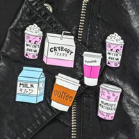 Wholesale kid cool clothes online - Cool Coffee Cup Milk Brooch Pin Enamel Badge Collar Clothes Jewelry Decor party favor kids gift Clothes cartoon Decor FFA1591