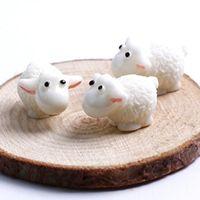 ingrosso mini figurine-New Kawaii Mini White Sheep Animals Casa Micro Fairy Garden Figurine Miniature Home Garden Decor Accessori fai da te Micro-paesaggio Craft
