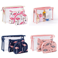 Wholesale hot food packaging resale online - Flamingo Printing Cosmetics Bags Waterproof Transparent Storage Bag PVC Wash Package A Set Hot Sale mq UU