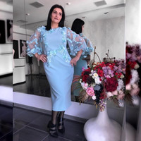Wholesale chocolate brown mother bride for sale - Group buy Light Blue Mother of the Bride Dresss Sheath D Flower Lace Appliqued Poet Long Sleeve Mothers Dresses Formal Evening Guest Gowns