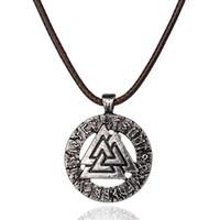Wholesale men's necklaces for sale - Slavic Norway Valknut pagan amulet pendant Men necklace Scandinavian Viking jewelry Odin s Symbol of Norse Viking Warrior