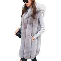 elegante ropa exterior al por mayor-Nuevo diseño cálido chaleco de piel sintética abrigo mujer chaleco de invierno gruesa con capucha rosa larga prendas de vestir exteriores elegante damas chaquetas más tamaño S-3XL