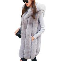 меховые жилеты для женщин оптовых-Новый дизайн теплый жилет из искусственного меха жилет женский зимний толстый с капюшоном розовый длинный верхняя одежда элегантные женские куртки Большой размер S-3XL