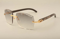 nomes de óculos de sol venda por atacado-New direto da fábrica de moda de luxo lente sunglasses3524014natural chifre blackpattern óculos high-end gravura, costume privado, nome gravado