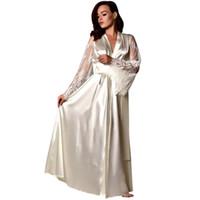 women s silk nightgowns großhandel-Frauen Pyjamas Frauen Satin Langes Nachthemd Seide Dessous Nachthemd Nachtwäsche Sexy Robe Nachthemd sexy Dessous hot @ 8