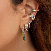 Wholesale tribal jewelry for women resale online - 2020 New Tribal Style Colorful Rhinestone Stripe Ear Cuffs For Women Geometirc Circle Rainbow Earring Set Bohemian Jewelry