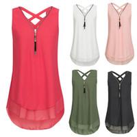 2b1a4c99c8be57 Wholesale 5xl tank tops for sale - Tank top summer sleeveless white green  pink zipper T