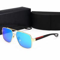 gafas sin montura de diseñador para hombre al por mayor-Retro polarizado de lujo para hombre gafas de sol sin montura de oro plateado marco cuadrado marca gafas de sol moda gafas con estuche