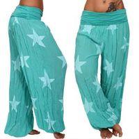 Wholesale pants fitness gray yoga resale online - Womens Star Wide Leg Pant Casual Yoga Fitness Sports Pants Print Loose Long Pants Trousers LLA297