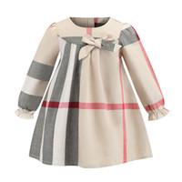 bir pleat bebek kıyafeti toptan satış-Yaka uzun kollu çocuk giysi tasarımcısı kızlar elbiseler INS bahar stilleri Avrupa ve Amerikan kız yüksek kalite pamuk büyük ekose elbise 7861