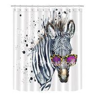 funky impressão venda por atacado-Zebra legal em Óculos Cortina de Chuveiro para o Banheiro Chic Funky Hipster Engraçado Hippie Listrado Animal Tema Impressão Mildew Resistente À Prova D 'Água