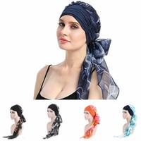 cabelo de flor chiffon impresso venda por atacado-Womens Muçulmano Hijab Câncer Chemo Flor Chapéu de Impressão Turbante Tampa Cap Cabeça de Perda de Cabelo Cachecol Envoltório Pré-Amarrado Headwear Strech Bandana Moda