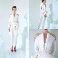 insgesamt frauen khaki groihandel-New 2020 AzziOsta weiße Abendkleider V-Ausschnitt Langarm Frauen-Overall SpitzeAppliques Perlen nach Maß Abendkleid-Verpflichtungs-Kleider 4267