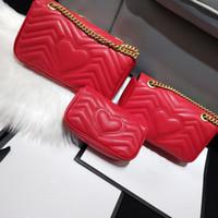 dalga çanta toptan satış-2019 Kadın Marmont çanta Lüks Çanta Çanta Tasarımcısı Yumuşak Hakiki Deri Omuz Çantaları Bayanlar Kalp V Dalga Desen Crossbody Çanta