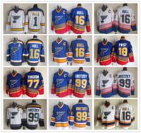 ingrosso vecchi pullover di hockey ccm-Maglia St. Louis Blues CCM Old Time 16 Brett Hull 18 Tony Twist 44 Chris Pronger 77 Pierre Turgeon 99 Wayne Gretzky