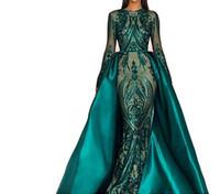 robes de soirée sirène arabia sirène achat en gros de-Elegant paillettes sirène robes de soirée avec détachable c manches longues nouvelle 2019 brillante femmes Arabie Saoudite formelle robes de soirée de bal