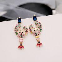 pendiente de gemas cúbicas al por mayor-Pendientes de cangrejo con encanto para niñas 2019 Nueva joyería de moda Joya de cristal Cuelga Araña Bling Cubic Zirconia Wome Pendientes de boda