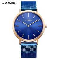 Wholesale clock cases resale online - SINOBI Men s Simple Watches Fashion Classic Gold Case Blue Retro Milan Watchband Business Quartz Wirstwatch Male Clock relojes