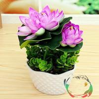 Wholesale flower lotus orange resale online - Simulation PU Lotus For Buddha Supplies Fake Flower Buds Small Potted Decorative Flower Bonsai Ornaments