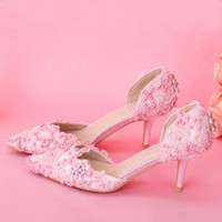 Wholesale pink rhinestone evening shoes for sale - Group buy Fashion Pink Lace Proms Wedding Women Bridal Elegant Sweet Evening Shoes Women Pumps Valentine Prom Party Shoes