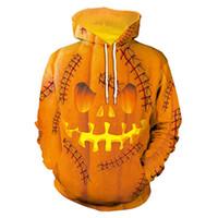 ingrosso cotone uomo con cappuccio-Felpa con cappuccio Halloween Pumpkin King Skull Print Felpe spaventose Streetwear Funny Skeleton Hoody Uomo Donna Felpa con cappuccio Pullover casual