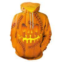 schädel sweatshirts für männer großhandel-Halloween Hoodie Kürbis König Schädel Print Scary Sweatshirts Streetwear Funny Skeleton Hoody Männer Frauen Hoodie Casual Pullover