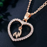 Wholesale gold plated jewelry factory resale online - Factory directly rose gold plated Letter W Necklace letters zircon love necklace jewelry Love Pendant inches chain