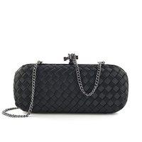 gestrickte luxustaschen großhandel-Stilvolle luxus frauen handtasche stricken handtasche kupplung harte partei geldbörse feste weibliche weben abendtasche 2019
