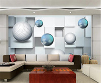 Wholesale mural kitchen resale online - Beibehang Mural Paper Crystal Ball Abstract D Background Wall Indoor TV Background Wall Decoration Mural Wall paper