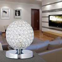 Wholesale crystal bedside table lamps resale online - K9 Crystal Table Lamp Light stainless steel Bedside Cabinet Lights Decoration Lighting For Study Bedroom E27 Bulb AC85 V