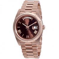 золотые часы оптовых-9 цветов 41 мм шоколадный циферблат Автоматический скользящий гладкий секундная стрелка Розовое золото Часы устойчивы к царапинам сапфировое стекло высшего качества