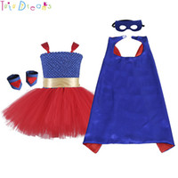 Wholesale girls super hero costume resale online - A Set Super Girl Cosplay Tutu Dress Red Blue Birthday Super Hero Theme Party Tulle Tutu Dress With Bow Kids Halloween Costume J190620