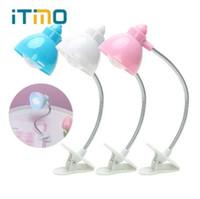 batterie mini led livre lumière achat en gros de-ITimo LED Livre Lumière Clip-on Lampes De Lecture Mignon Nuit Étude Lumière Lampe Avec Pile Bouton Mini Portable Flexible Réglable