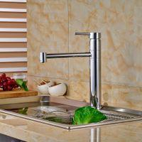 Wholesale single handle kitchen faucet chrome online - Chrome Brass Deck Mount Hot Cold Water Rotation Kitchen Sink Faucet Single Handle Mixer Taps