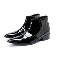 ingrosso stivaletti britannici-Scarpe in pelle con vernice britannica Scarpe da uomo in pelle con cinturino alla caviglia