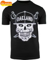 Wholesale clothes california resale online - Casual T Shirt Male Pattern Mens Day of the Dead Sugar Skull Oakland California Skull Shirt New Arrivals Casual Clothing