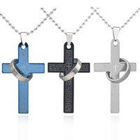 ingrosso catena di bead jesus-Collana pendente croce alla moda Hip Hop Bible Verses Gesù pregare croce perline Collana a catena gioielli unisex Drop Shipping Collares