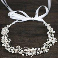 diademas nupcial pelo largo al por mayor-Perlas de agua dulce de plata Hairbands nupcial de las mujeres Rhinestone de la boda del pelo accesorios de la joyería de cristal largo Tiara del pelo