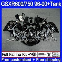 tanques suzuki al por mayor-Bodys + Tank para SUZUKI SRAD GSXR 750 600 1996 1997 1998 1999 2000 291HM.46 GSXR600 Gris llamas brillo GSXR-750 GSXR750 96 97 98 99 00 Carenado