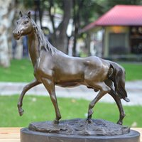 бронзовый конский орнамент оптовых-Бронзовая резная бронзовая скульптура с изображением арабских лошадей, украшений для животных, бегущих лошадей, ремесленных украшений, подарков на переезд, украшения фэншуй
