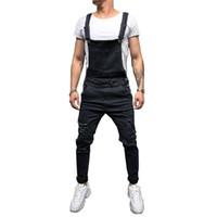 moda bib macacões para os homens venda por atacado-Moda masculina Jeans Rasgado Jumpsuits Oi Rua Afligido Denim Bib Macacão Para O Homem Suspender Calças Tamanho S-xxxl