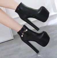 schwarze plattform 16cm ferse großhandel-16cm Super dicke Ferse schwarze Perle verziert Plattform Stiefeletten Schuhe Damen Designer Stiefel Größe 34 bis 40