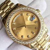 Wholesale inlaid diamond watch for sale - Group buy Men s Watch DATE A Series K Gold Dial Diamond Inlay Automatic Mechanical Watch President Strap Original Folding Buckle Sells World