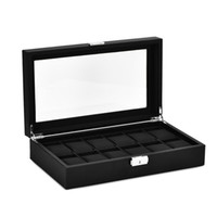 12-Slot Watch Organizer Display Box Carbon Fiber Leather Jewelry Storage Organizer Case with Lock and Glass Cover