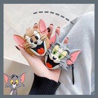 iphone bluetooth maus großhandel-Anwendbar Cartoon-Katze und Maus iPhone Silikon-Headset Satz airpods drahtlose Bluetooth-Schutzabdeckung Paar dhl frei