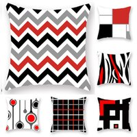 Wholesale red striped pillows resale online - Red Striped Geometric line Pillow Case Cushion Cover Square printing Pillowcase Cushion Cover Home Office Sofa Car Decor Free DHL XD21329