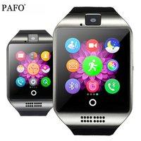 ingrosso telefoni di grande schermo-Bluetooth Smart Watch Men Q18 con touch screen grande supporto per batteria TF Sim Card per Android Phone Smartwatch